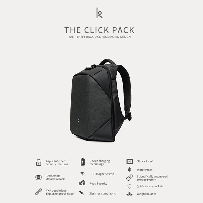 [KORIN DESIGN] No.B#K001KORIN Anti-Theft Backpack (2color)