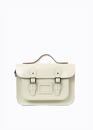 "[LEATHER SATCHEL] No.B#LS1302LEATHER SATCHEL 13"" (IVORY/strap)"